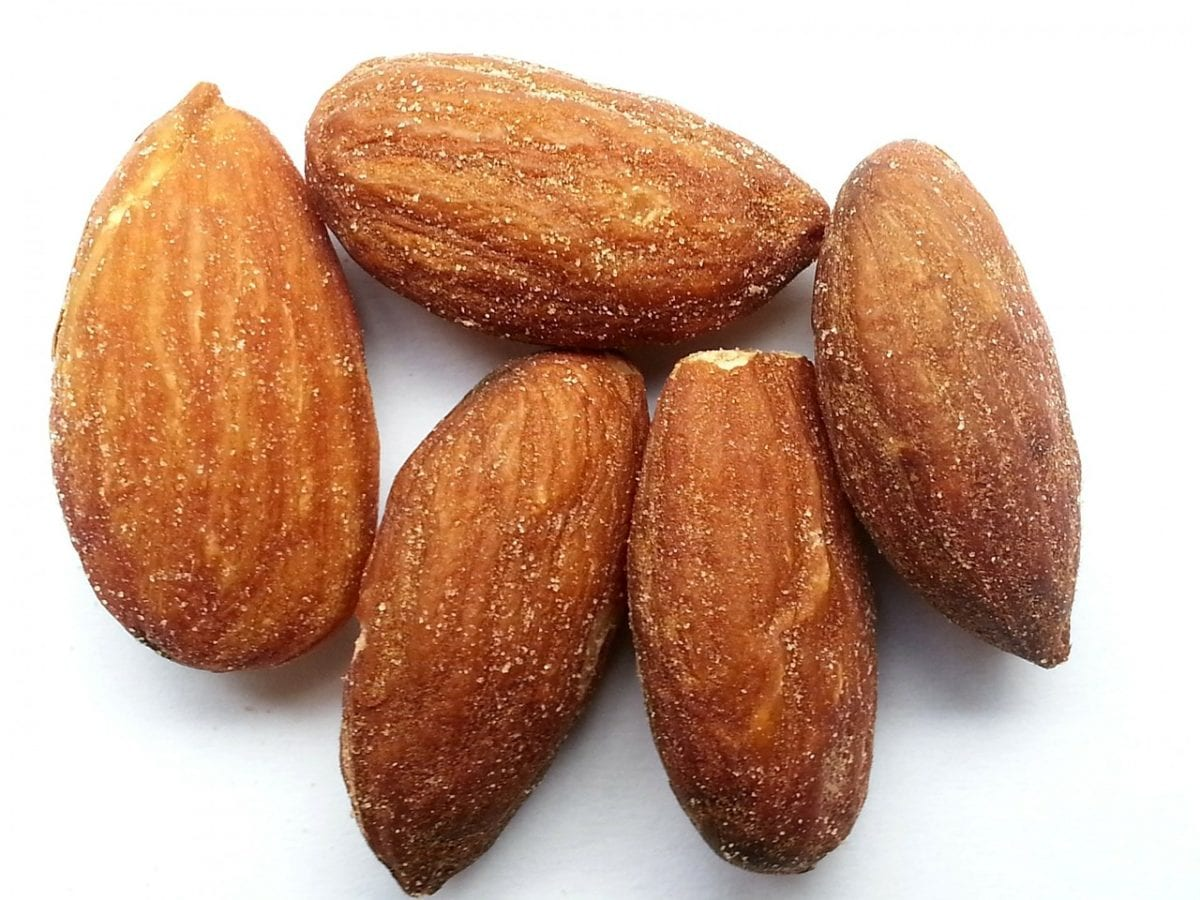 Almonds with white background